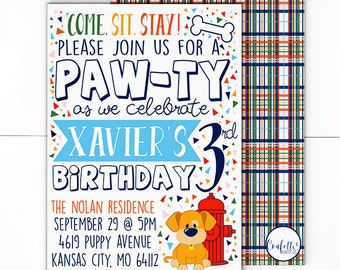 Puppy Invitation - Dog Invitation - Pawty Invite - Dog Invite - Puppy Birthday - Puppy Party - Dog Birthday - Puppy Pawty - Come Sit Stay