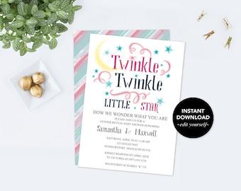 Twinkle Twinkle Little Star Baby Shower Invitation, Gender Reveal Party, Gender Reveal Ideas, Baby Shower Invitation, Boy Girl Baby Reveal