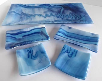 Fused Glass Sushi Plate Set in Blues and White by BPRDesigns
