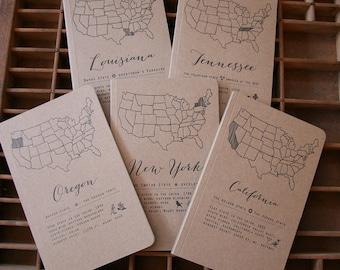 letterpress 43 states notebook + a few cities