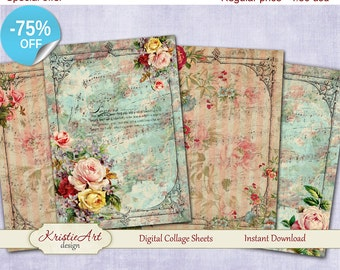 75% OFF SALE Shabby Dreams - Digital Collage Sheets L005 Printable download, Large digital image, Transfer Images for bags books fabrics