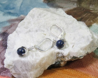 Lapis Lazuli Stone Earrings, The Protector Stone,  Hypo Allergenic Silver Plate Nickle Free Clasp