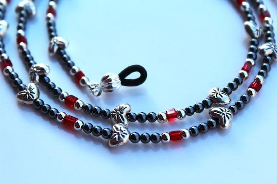 Heart Eyeglass Chain, Gift for Her, Silver and Black Chain for Reading Glasses, Beaded Eyeglass Holder