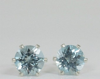 MothersDaySale Sky Blue Topaz 7mm 2.95ctw Sterling Silver Stud Earrings