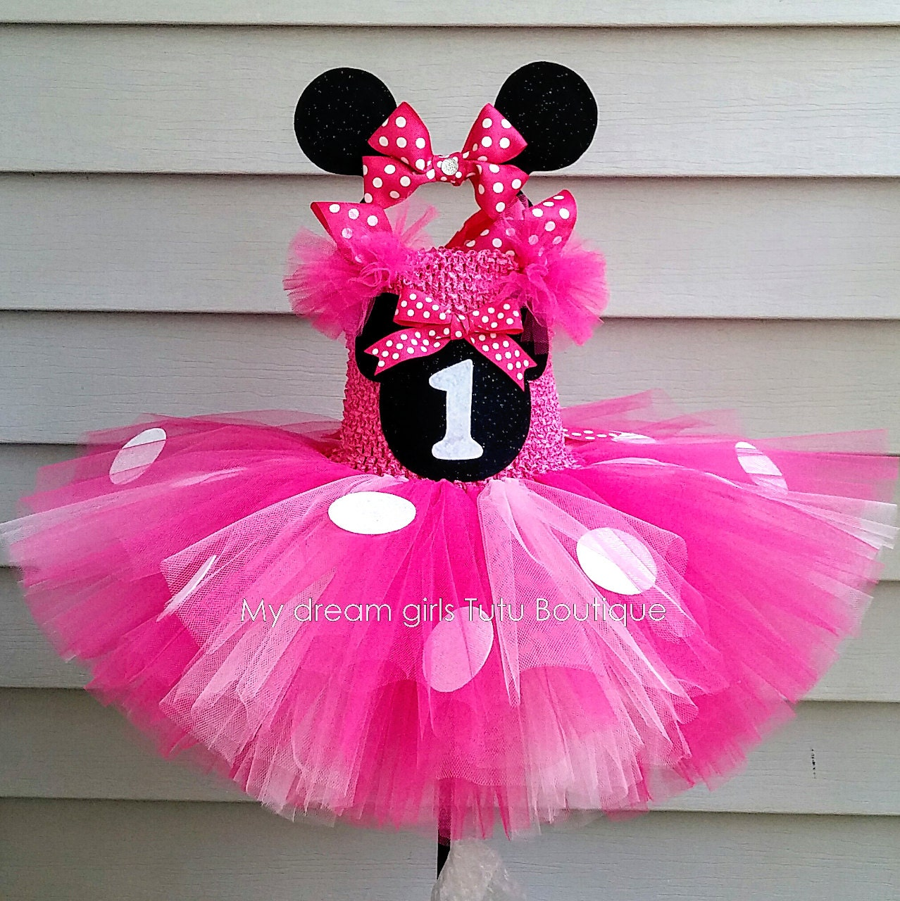 Diadema y vestido de Minnie mouse rosa minnie mouse vestido