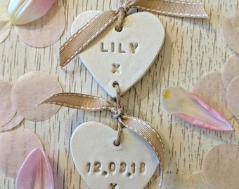 Personalised Clay Hearts, Baby Name and Birth Date, Personalised Family Clay Hearts, Keepsake.
