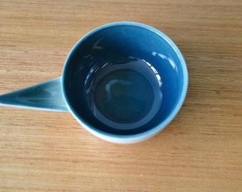 Vintage mid century ramekin turquoise bakeware 60's 50's ceramic OT3