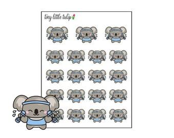 Planner Stickers Koala Workout/Dumbbells