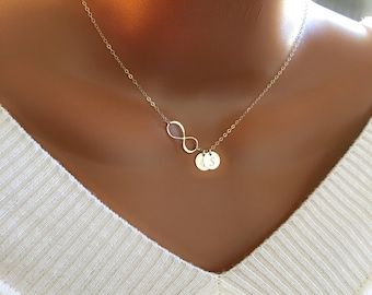 Sterling Silver Infinity and Discs Necklace, Personalized Initial Necklace, Sister Necklace, Beautiful Gift, Gift for Her, Birthday Gift