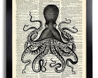Squid Octopus Art Print  on Vintage Dictionary Paper, Sea Art Print, Bathroom Wall Decor, Beach Home Art Print, Bathroom Decoration Art 551