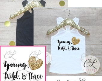 Birthday Girl Tank Top Shirt / Baby Girl Clothes Young Wild Three 3 Year Old Outfit Third Birthday Shirt 3rd Birthday Girl Outfit Tshirt 231