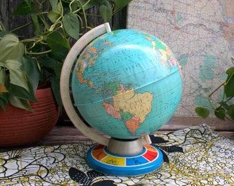 Vintage Ohio Art Tin Metal Globe. Industrial World Map / Mid Century Home Decor / Educational