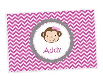 Monkey Personalized Placemat - Monkey Girl Pink Chevron with name, Customized Laminated Placemat