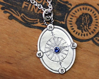 Sapphire compass necklace, silver compass necklace, blue sapphire necklace, graduation gift, compass rose, custom engraved, Find your way