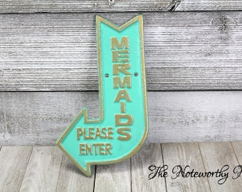 ANY COLOR mermaid sign / cast iron mermaid sign // girls bedroom decor // beach decor // pool decor // teens room / mermaid lover gift