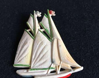 Vintage 1940s Celluloid Yacht Design Brooch