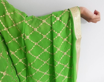 Parrot Green Dupatta Chinnon Fabric with Gold Embroidered Diamond Pattern - Designer Dupatta, Indian Jewelry, Bridal Wedding Dupatta, Chunni