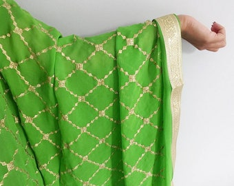Parrot Green Dupatta Chinnon Fabric with Gold Embroidered Diamond Pattern - Designer Dupatta, Indian Jewelry, Bridal Wedding Dupatta, Chunni