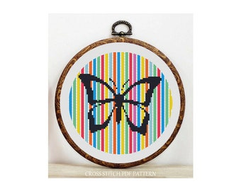 Colorful Butterfly-Cross Stitch Pattern-Modern Sampler-Pdf-Instant Download