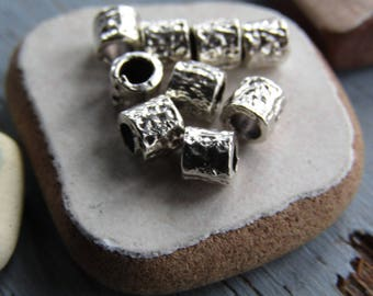Antiqued silver mini tube beads, small textured metal casting spacer - Pewter tone , antiqued silver finish - 3.5 x 4mm (16 beads) 7as2694