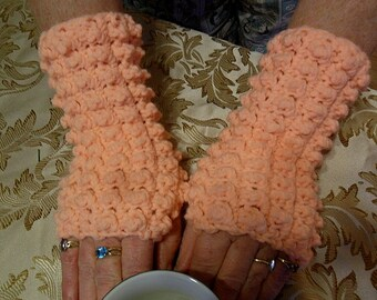 Hand Crocheted Peach Popcorn Fingerless Mittens