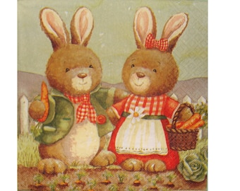 Set of 3 napkins ANI013 rabbits harvesting carrots ds basket