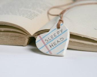 Sleepy Head Heart Shape Notebook necklace