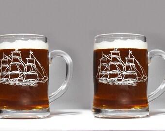 2 Nautical Beer mugs, Nautical Gifts, Mariner's Beer Mug, sea Beer Mug,Gift for Sailor, Gift for Mariner