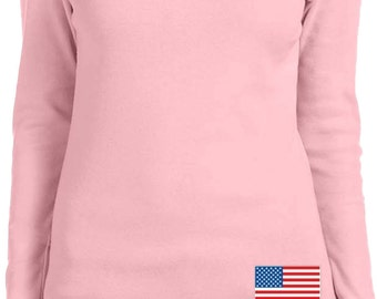US Flag Bottom Print Ladies Long Sleeve Tee T-Shirt 3991B-5001