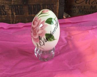 Vintage Handpainted Porcelain Egg / Grandmother
