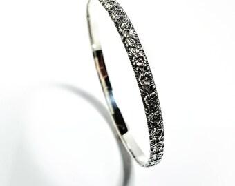 Silver Bangle Bracelet, Floral Bangle Bracelet, Great Gift for Her