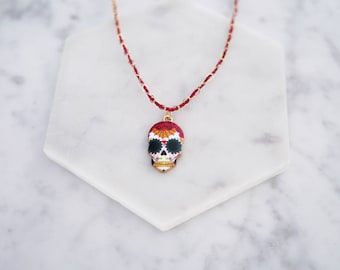 Day of the Dead Necklace, Sugar Skull Necklace, Skull Necklace