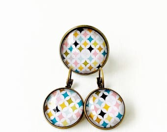 Cabochon tiles set bronze - colored (earrings + large ring)