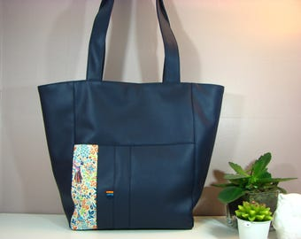 Navy blue hand/tote bag and Liberty peacocks Orange/turquoise