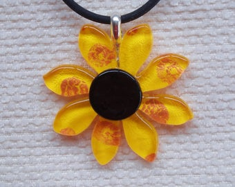 Glass sunflower pendant, sterling silver bail