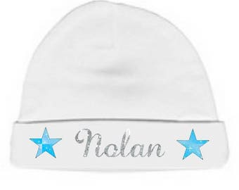 Personalized with name White Star Baby bonnet