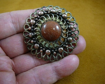 Orange Goldstone with on scrolled round looped Victorian repro brass pin pendant BB310-3
