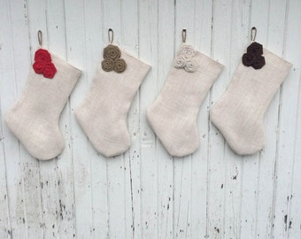 Burlap Triple Rosette Christmas Stocking-Shabby Chic-Natural/Folk/Country/Rustic-CUSTOM Color Combinations Available