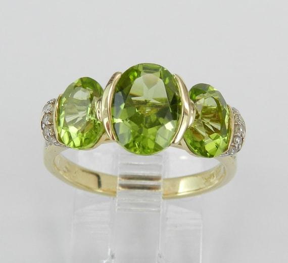 14K Yellow Gold 2.40 ct Peridot and Diamond Three Stone Engagement Anniversary Ring Size 6 August Birthstone Gem