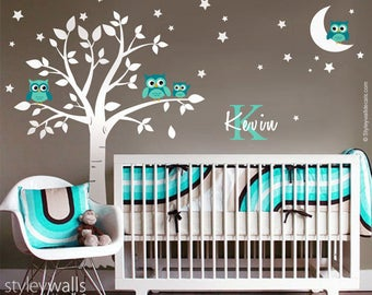 Owls Tree Wall Decal, Owls Wall Decal Moon and Stars, Owls Personalized Initial Name Wall Decal, Tree Decal, Moon Stars Owls Wall Sticker