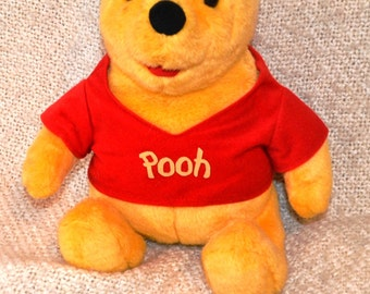 "WINNIE The POOH.. 16"" head to toe..Disney by: Mattel 1994, TALKS..Many Phrases..Red Shirt,Yellow Pooh stitched on."