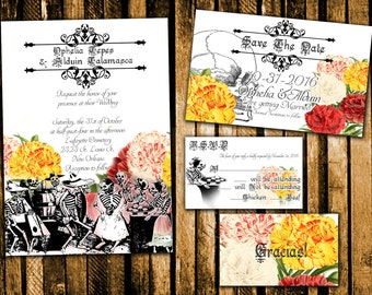 Dancing Skeletons Day of the Dead Wedding Invitation, Save the Date, RSVP, and Thank You Digital File Kit Printable dia de los muertos