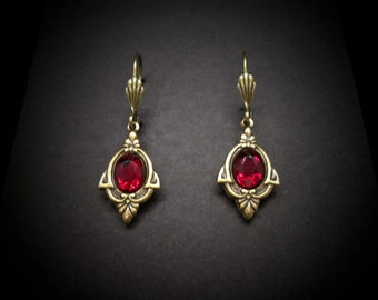 Garnet Earrings Art Deco Style Garnet Glass Antiqued Brass FREE SHIPPING USA