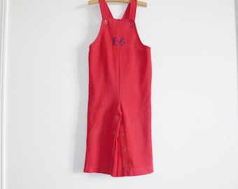 Vintage Red Polyester Children's Overalls