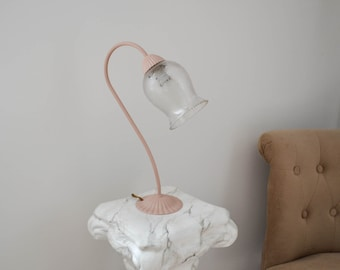 Brass bedside lamp and the Tulip glass lamp shade - lamp table - lamp gooseneck - gift for her