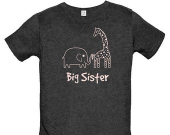 Big Sister Shirt - Elephant & Giraffe Shirt  - Multiple Colors Available - Kids T shirt - Gift Friendly - PolyCotton Blended Tee