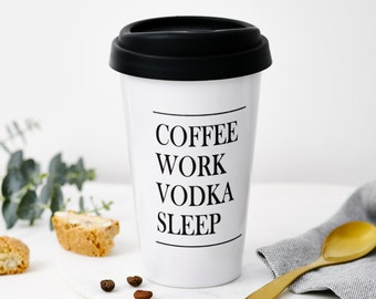 Personalised Work Sleep Travel Mug