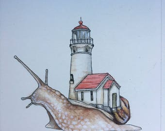 Lighthouse Snail Print