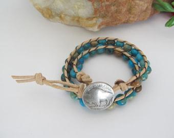 Wrap Bracelet, 2 x Leather Wrap Bracelet, Leather and Turquoise Wrap Bracelet, Southwestern Leather Wrap Bracelet, Boho Wrap Bracelet