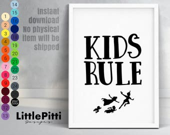 Kids rule nursery print, minimalistic nursery art, neverland art, kids decor, disney print, Peter Pan wall art, kids gift, digital download
